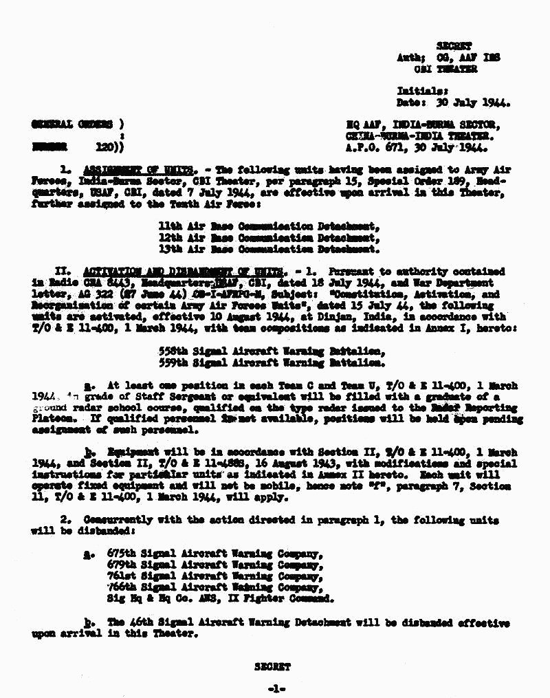 General Order 120 Showing Activation Of 558th, 559th Signal Aircraft  Warning Battalions